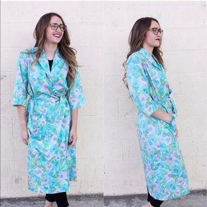 Vintage 1950's Blue & green Floral Robe Kimono